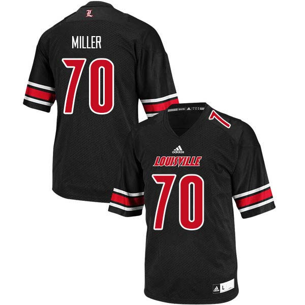 Men Louisville Cardinals #70 John Miller College Football Jerseys Sale-Black