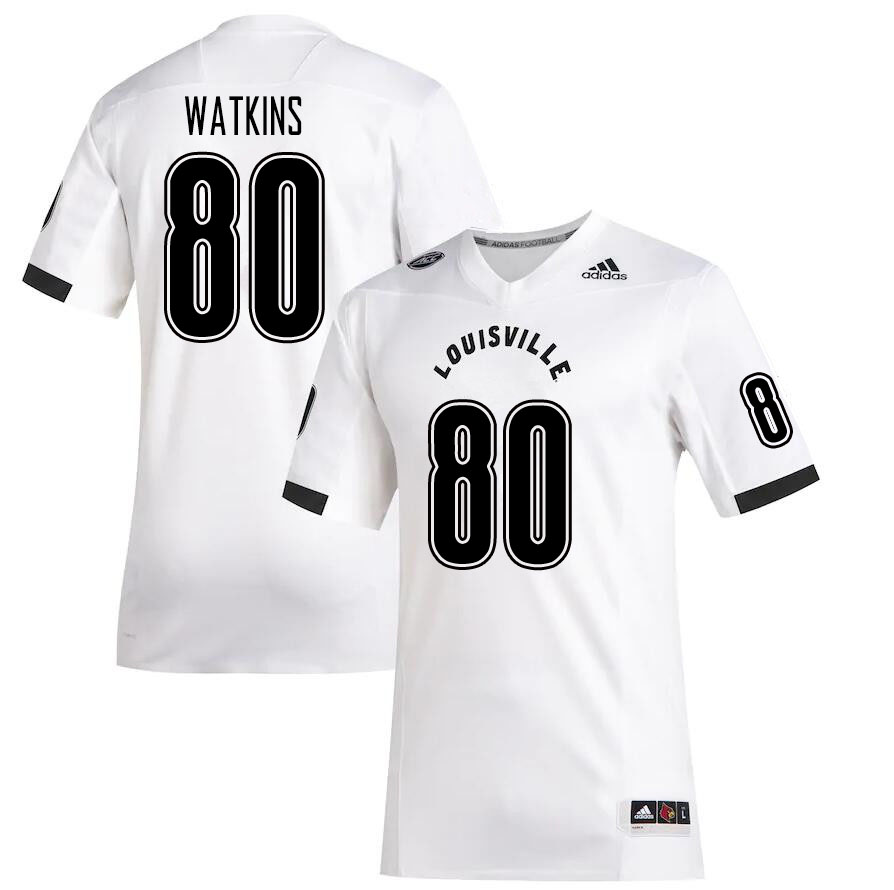 Men #80 Jordan Watkins Louisville Cardinals College Football Jerseys Sale-White