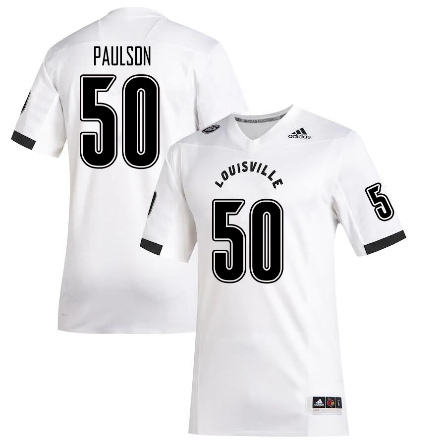 Men #50 Luke Paulson Louisville Cardinals College Football Jerseys Sale-White
