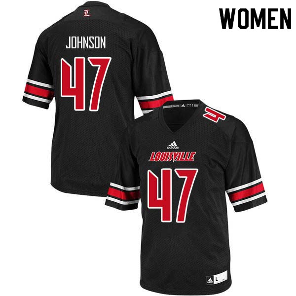 Women Louisville Cardinals #47 Austin Johnson College Football Jerseys Sale-Black