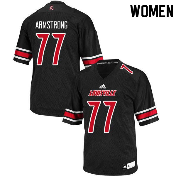 Women Louisville Cardinals #77 Bruce Armstrong College Football Jerseys Sale-Black