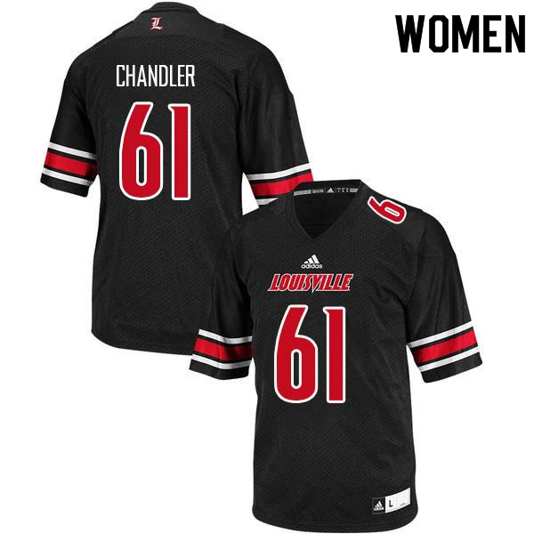 Women Louisville Cardinals #61 Caleb Chandler College Football Jerseys Sale-Black