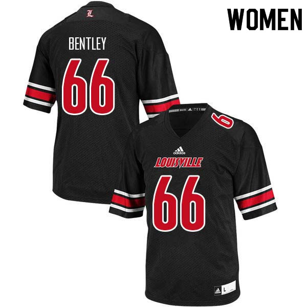 Women Louisville Cardinals #66 Cole Bentley College Football Jerseys Sale-Black