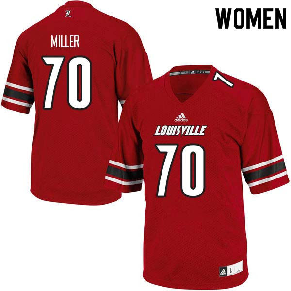 Women Louisville Cardinals #70 John Miller College Football Jerseys Sale-Red