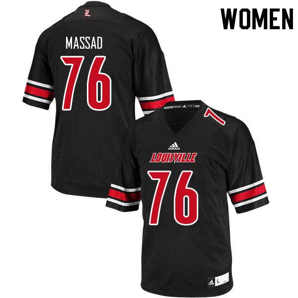 Women Louisville Cardinals #76 Luke Massad College Football Jerseys Sale-Black