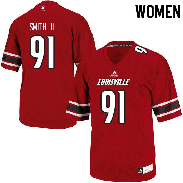 Women Louisville Cardinals #91 Marcus Smith II College Football Jerseys Sale-Red