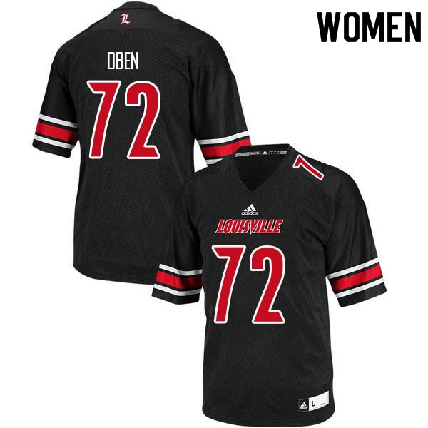 Women Louisville Cardinals #72 Roman Oben College Football Jerseys Sale-Black