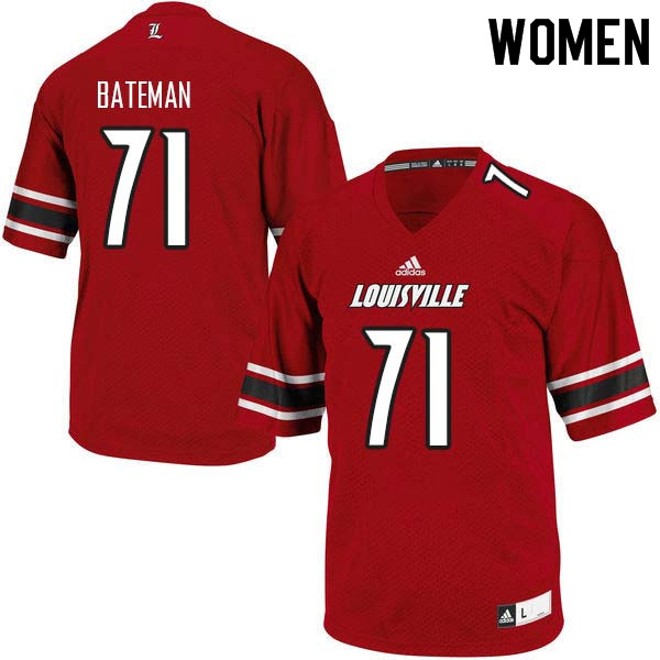 Women Louisville Cardinals #71 Toryque Bateman College Football Jerseys Sale-Red