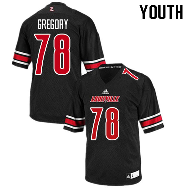 Youth #78 Jackson Gregory Louisville Cardinals College Football Jerseys Sale-Black