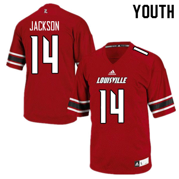 Youth #14 Thomas Jackson Louisville Cardinals College Football Jerseys Sale-Red