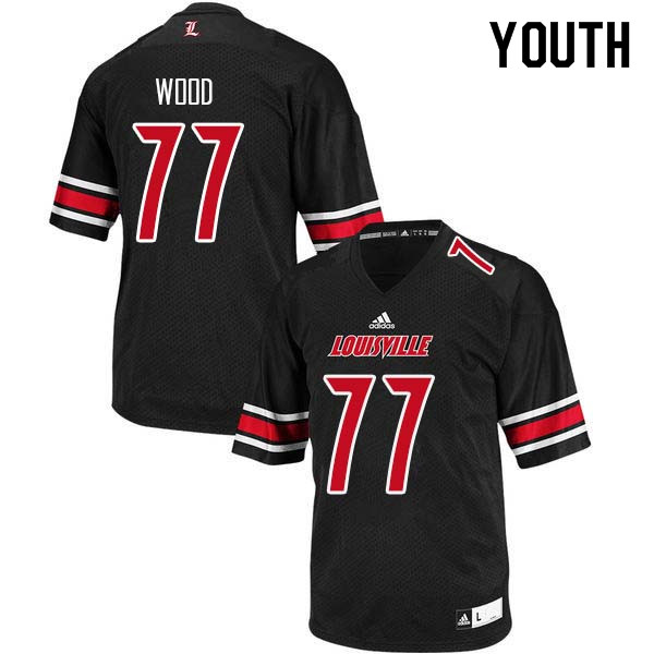 Youth Louisville Cardinals #77 Eric Wood College Football Jerseys Sale-Black